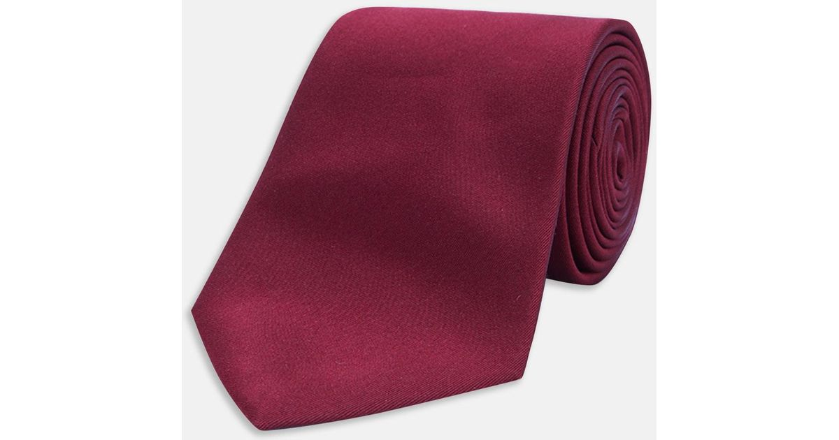 8df2170f64a7 Turnbull & Asser Slim Burgundy Plain Satin Silk Tie for Men - Lyst