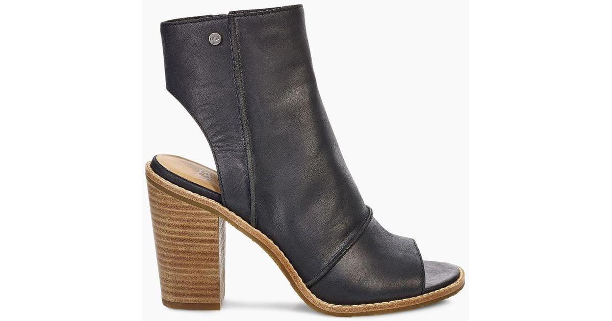 3514ce1f714 Ugg Black Valencia Leather Peep Toe Bootie