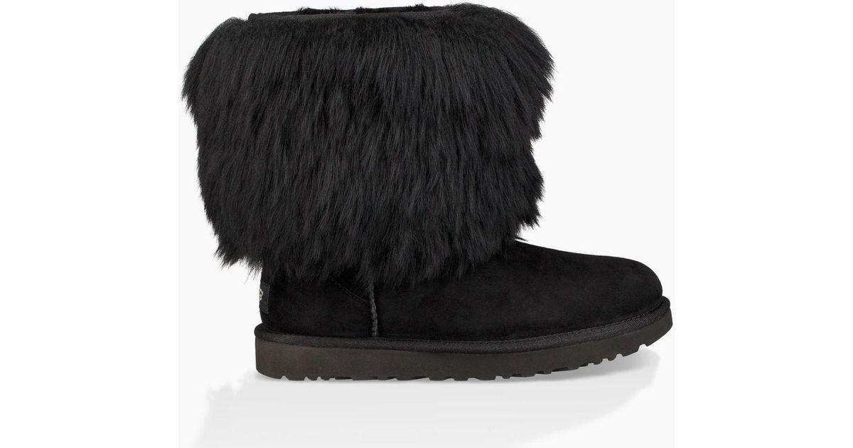 Short Sheepskin Cuff Boot in Black