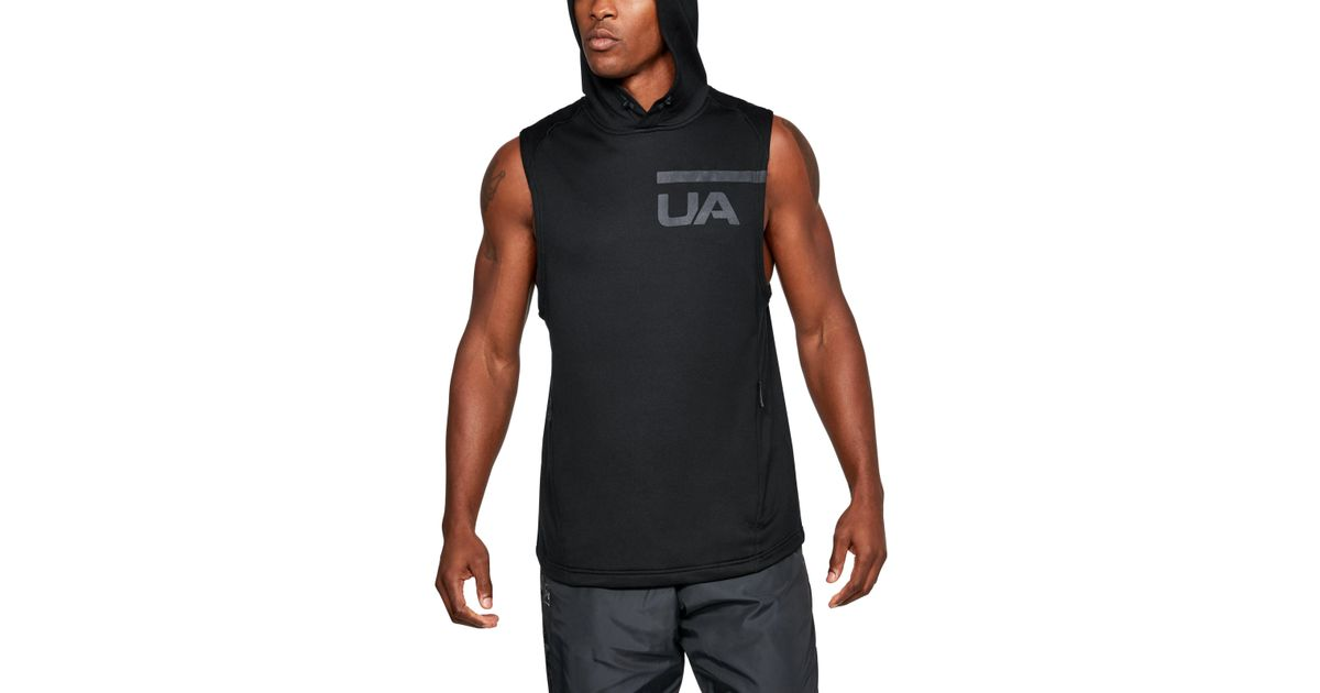 d85adf6e1a3886 Lyst - Under Armour French Terry Sleeveless Hoodie in Black for Men