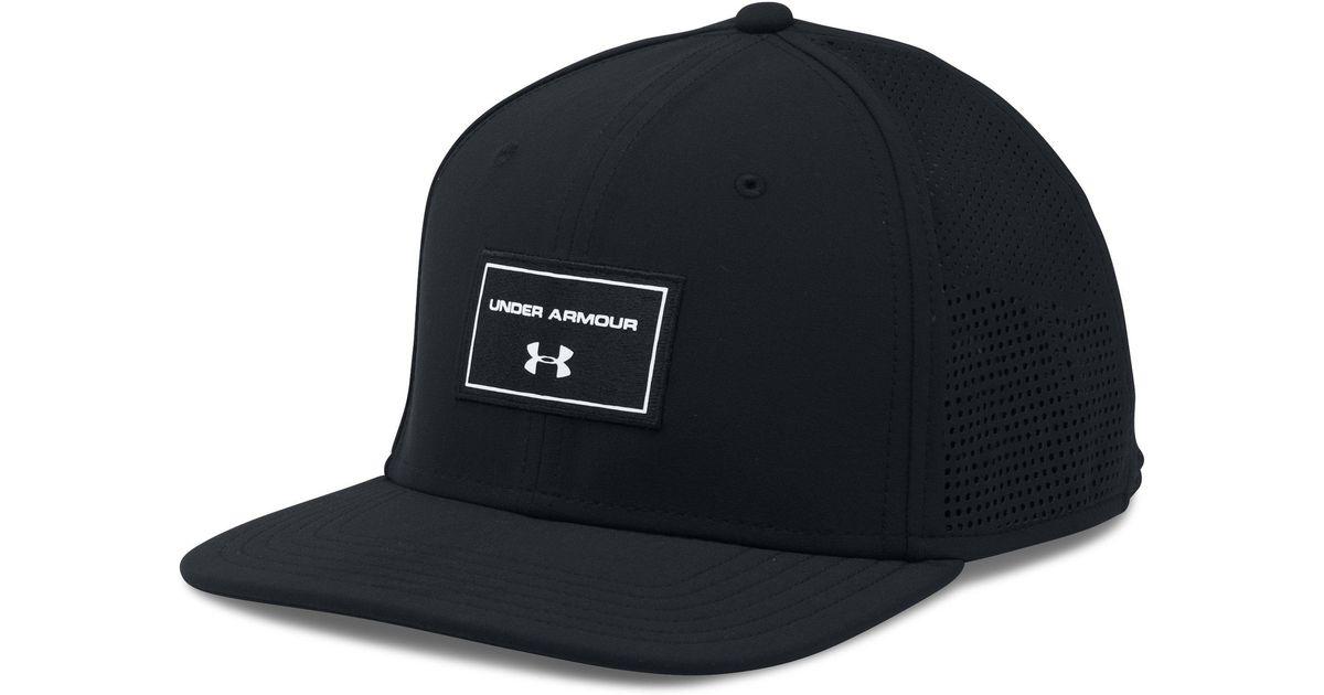 01648949 ... best price lyst under armour supervent flat brim snapback hat in black  for men 613f9 811e8