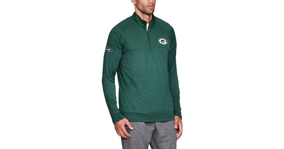 dc52f75476cd Lyst - Under Armour Men s Nfl Combine Authentic Ua Techtm Twist 1⁄4 Zip  Long Sleeve Shirt in Green for Men