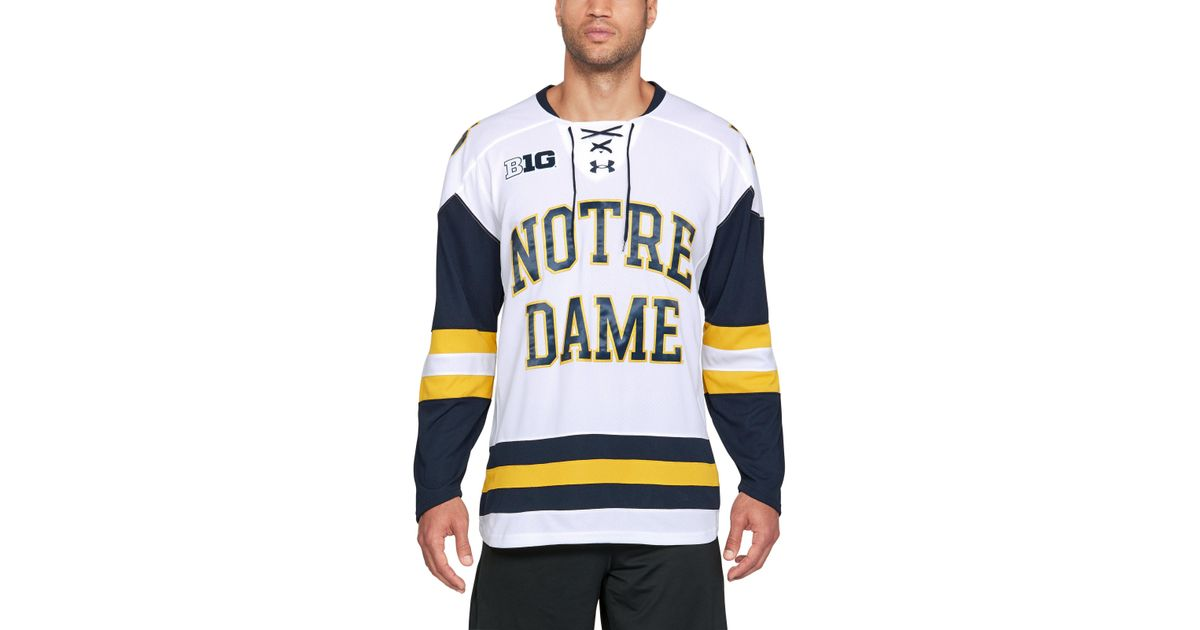 huge discount 463cf 3048c Under Armour White Men's Notre Dame Hockey Replica Jersey for men