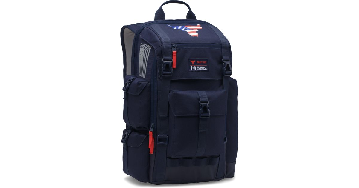 75dc79546f6 Under Armour Ua X Project Rock Freedom Regiment Backpack in Blue for Men -  Lyst