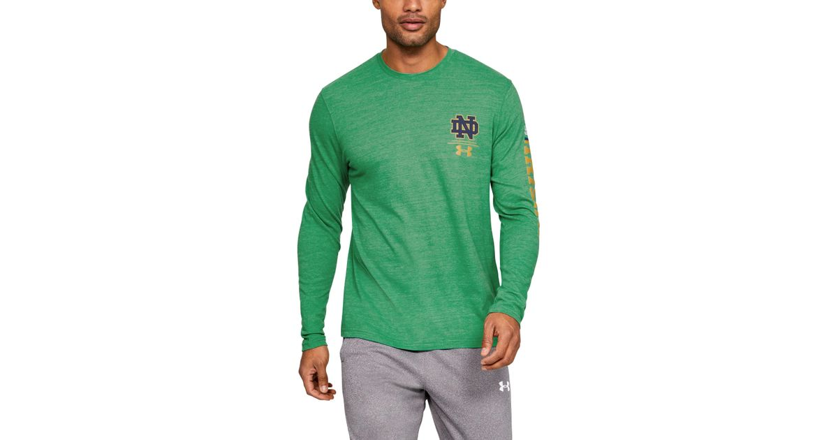 finest selection 633de 8c268 Under Armour Men's Notre Dame Ua Triblend Irish Wear Green Long Sleeve for  men