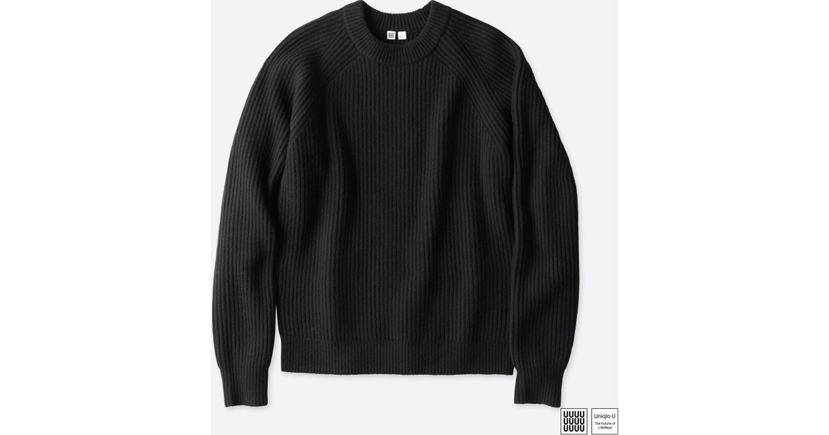 364cbe2b94 Lyst - Uniqlo Men U Lambswool-blended Crewneck Long-sleeve Sweater in Black  for Men