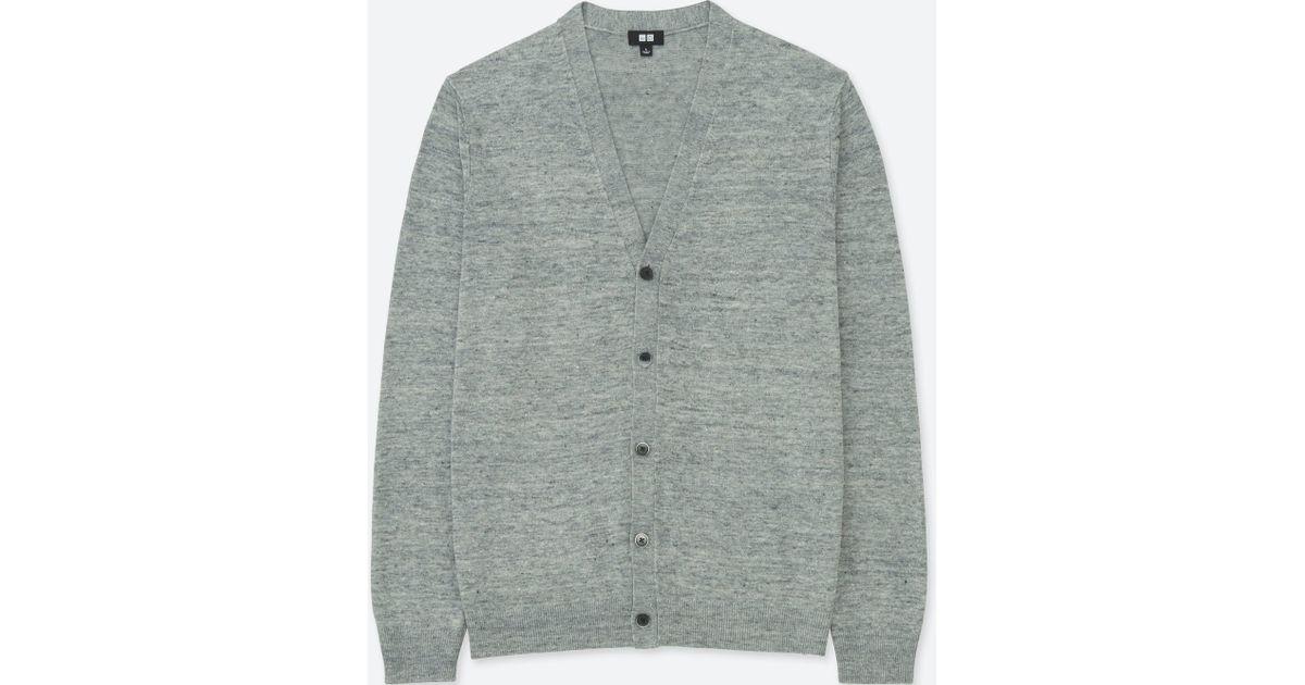 Lyst - Uniqlo Men Linen Blend V-neck Long-sleeve Cardigan in Gray for Men 24013a3ac