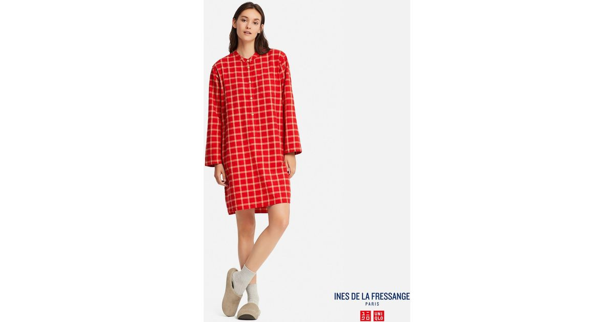 e1087e5e7f Uniqlo - Red Ines Flannel Long Sleeve Pyjamas - Lyst
