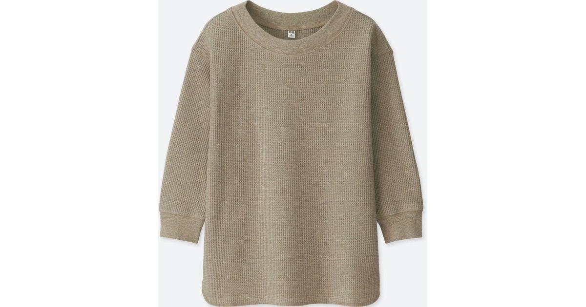 51ac3e74 Uniqlo - Natural Women Waffle Crew Neck 3/4 Sleeve T-shirt - Lyst