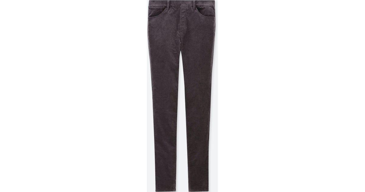 660101a79427f4 Uniqlo Heattech Velvet High Rise LEGGINGS Trousers in Gray - Lyst