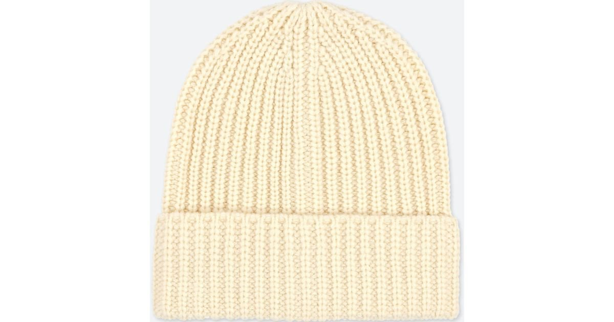 Uniqlo Heattech Knitted Beanie Hat in Natural for Men - Lyst 5982bd6959a