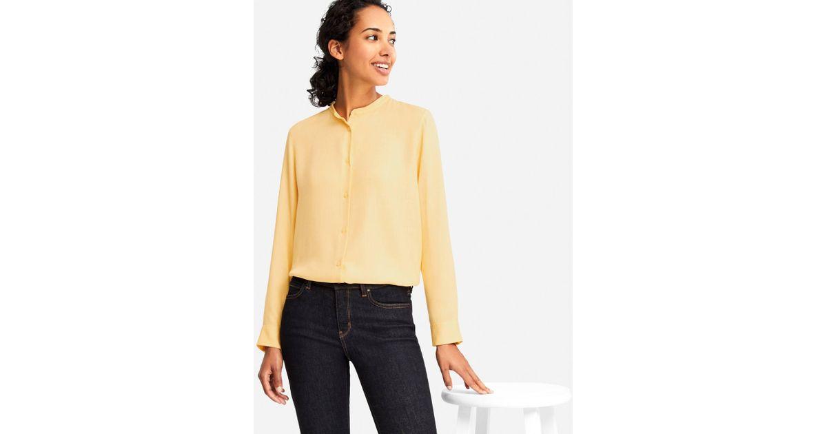 db08289ea4 Lyst - Uniqlo Women Rayon Long-sleeve Blouse in Yellow