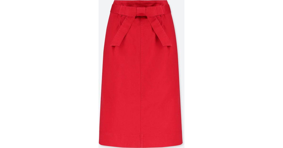 01c5ac6429 Uniqlo Women High-waist Belted Narrow Skirt in Red - Lyst
