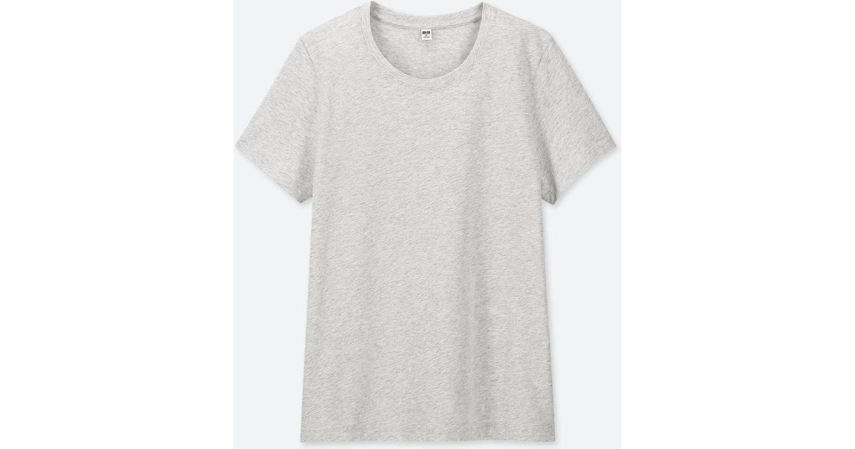 afbcb55e5f41 Lyst - Uniqlo Women Supima® Cotton Crew Neck Short-sleeve T-shirt in Gray