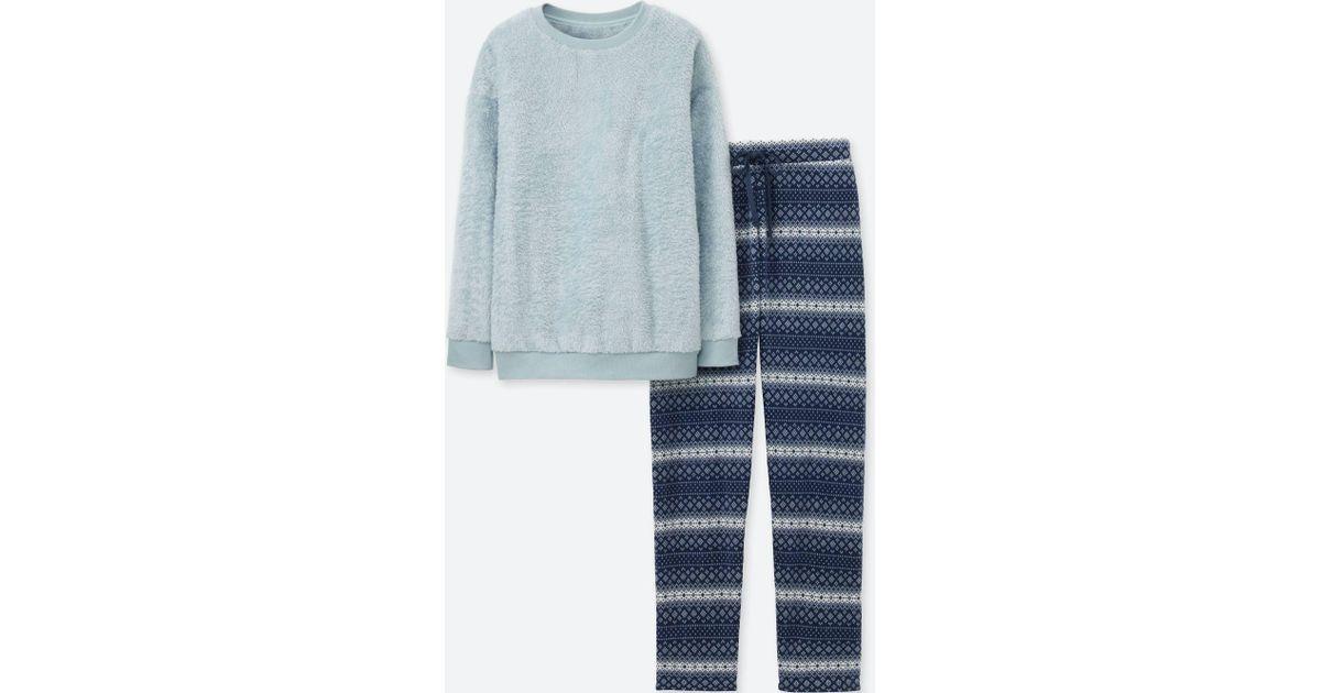 Lyst - Uniqlo Women Long-sleeve Fair Isle Fleece Set in Blue