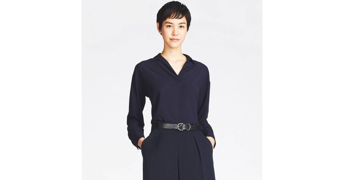 89efb58d7c Uniqlo Women Rayon Long-sleeve Blouse in Blue - Lyst