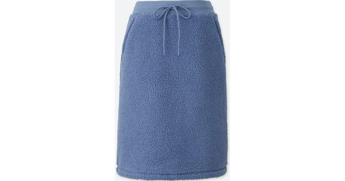 24861087ad Lyst - Uniqlo Women Blocktech Fleece Pile-lined Skirt in Blue