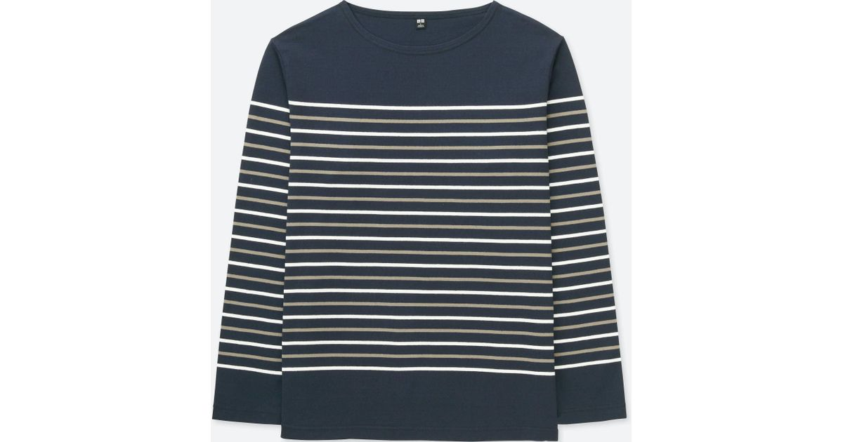 d495725013 Uniqlo Men Washed Striped Long-sleeve T-shirt in Blue for Men - Lyst