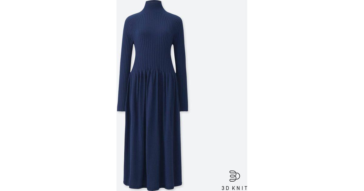 9493432b67a Uniqlo Women 3d Extra Fine Merino Ribbed Long-sleeve Dress in Blue - Lyst