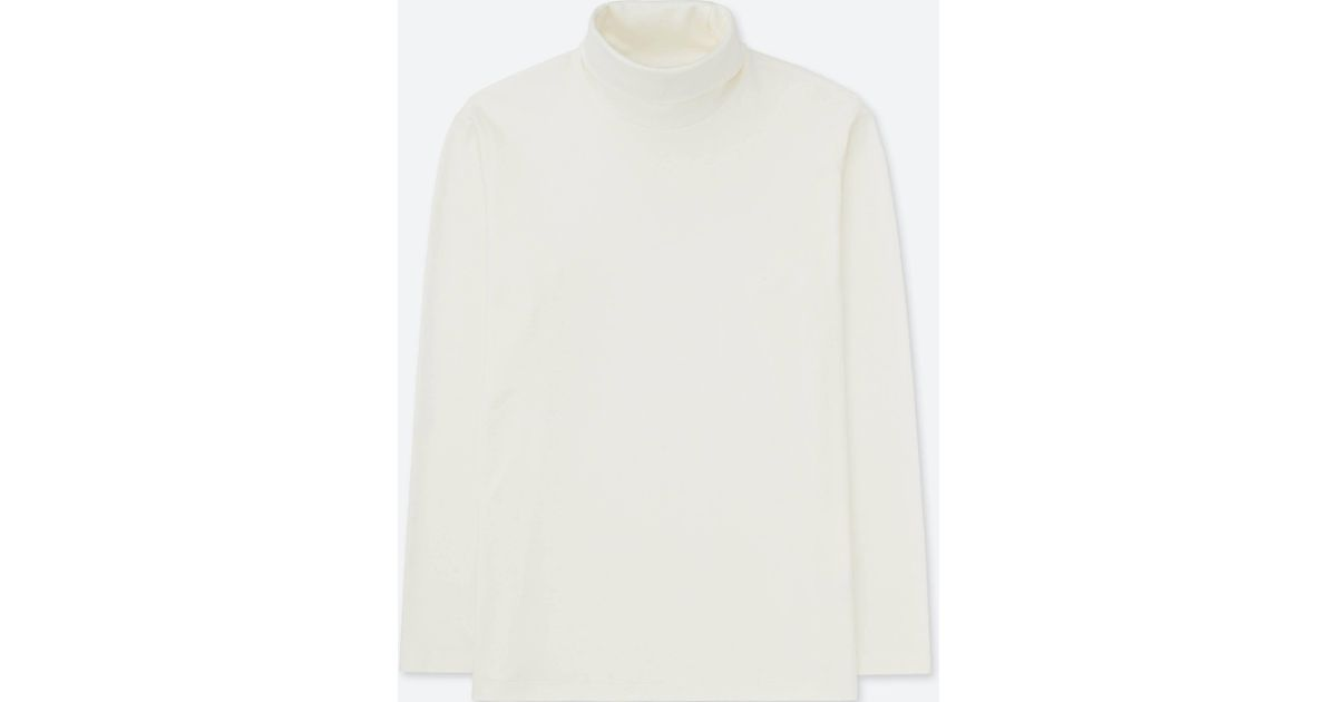 124bc530a Uniqlo - White Men Soft Touch Long-sleeve Turtleneck for Men - Lyst