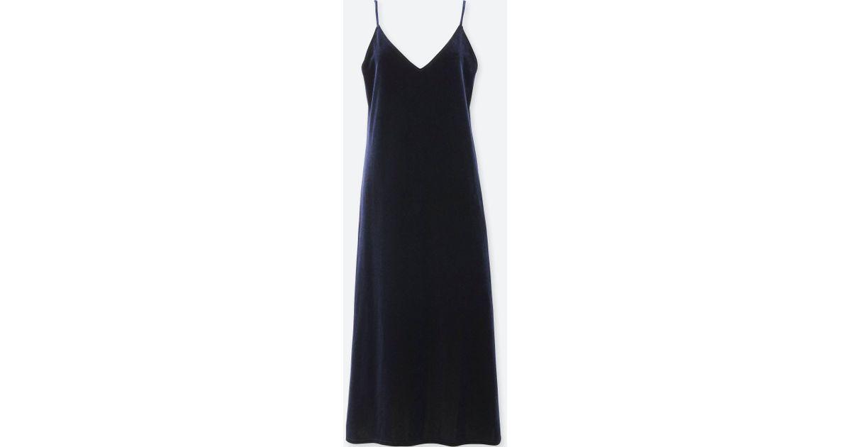 b17621e6d244 Uniqlo Women Velour Camisole Dress in Blue - Lyst
