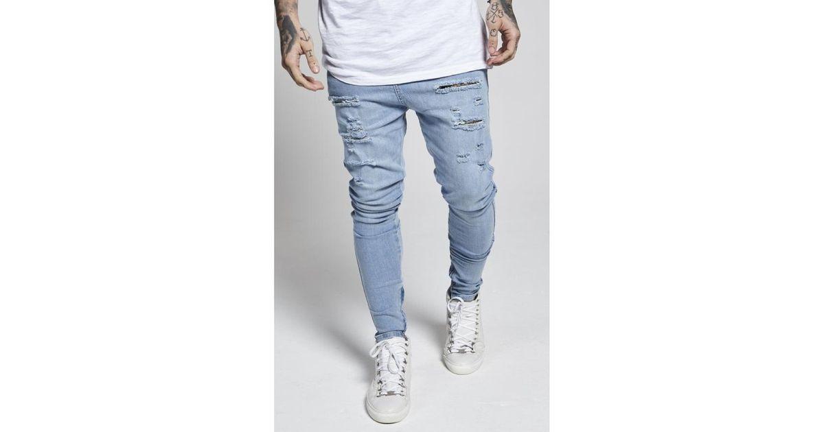 ausgereifte Technologien gutes Geschäft Spitzenstil Siksilk Blue Distressed Drop Crotch Jeans for men
