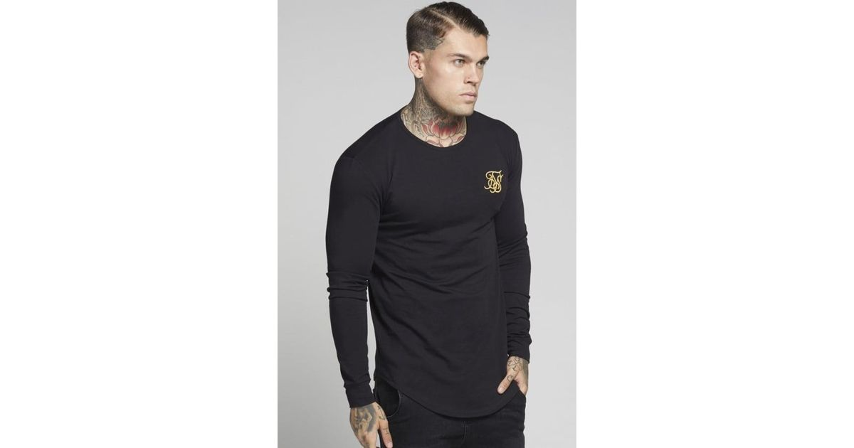 1a817fea7e47 Lyst - Siksilk Long Sleeve Gym Tee in Black for Men