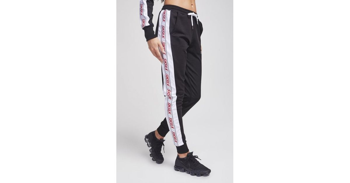 Lyst - SIKSILK 90 s Panel Poly Joggers in Black dc2f58207442