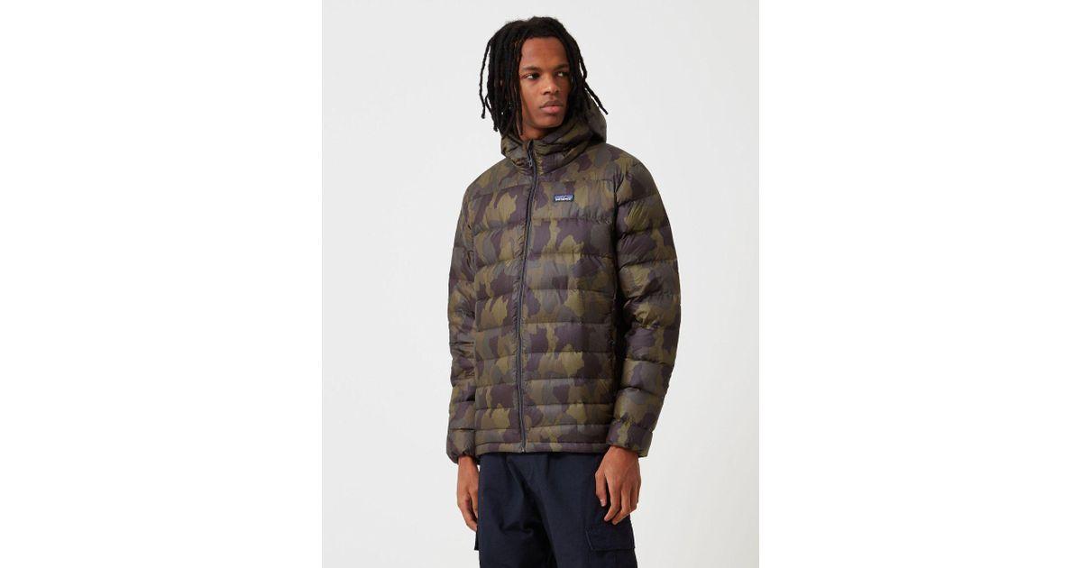 79c65d27c Patagonia Black Hi Loft Down Bunker Camo Hooded Jacket for men