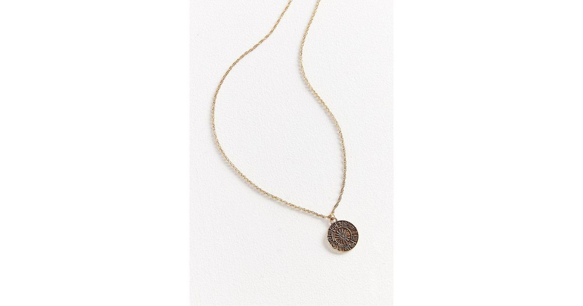 Urban Outfitters Metallic Rising Sign Pendant Necklace