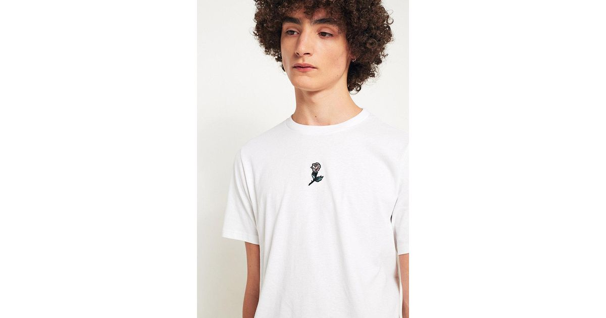 Lyst urban outfitters uo white centre placement rose embroidery