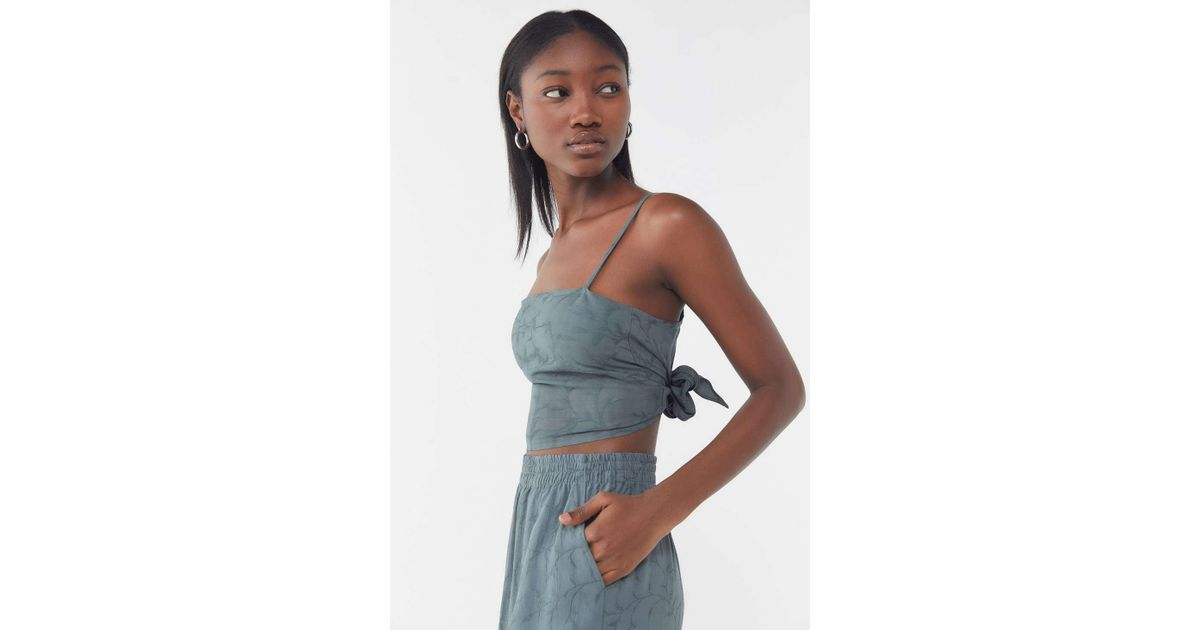 ab52fef110801 Lyst - Urban Renewal Remnants Jacquard Tie-back Cropped Tank Top in Gray