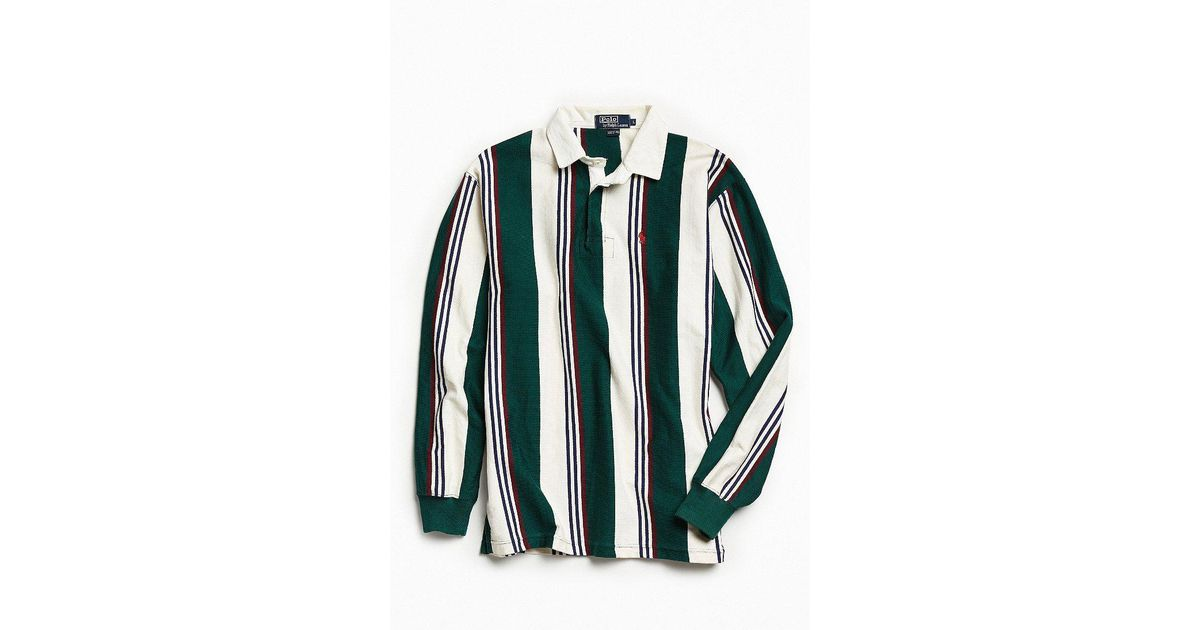 16d2573373d Urban Outfitters Vintage Polo Ralph Lauren Multi Vertical Stripe Rugby Shirt  in Green for Men - Lyst