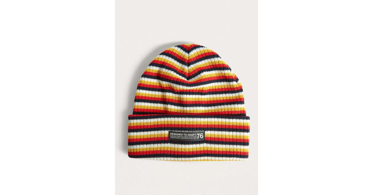 Urban Outfitters Uo Stripe Yellow Skate Beanie in Red for Men - Lyst 38c30373902