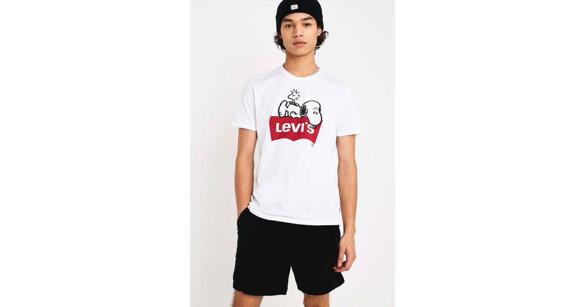 quality design 49340 b99b6 Levi's X Peanuts Snoopy And Woodstock White T-shirt for men