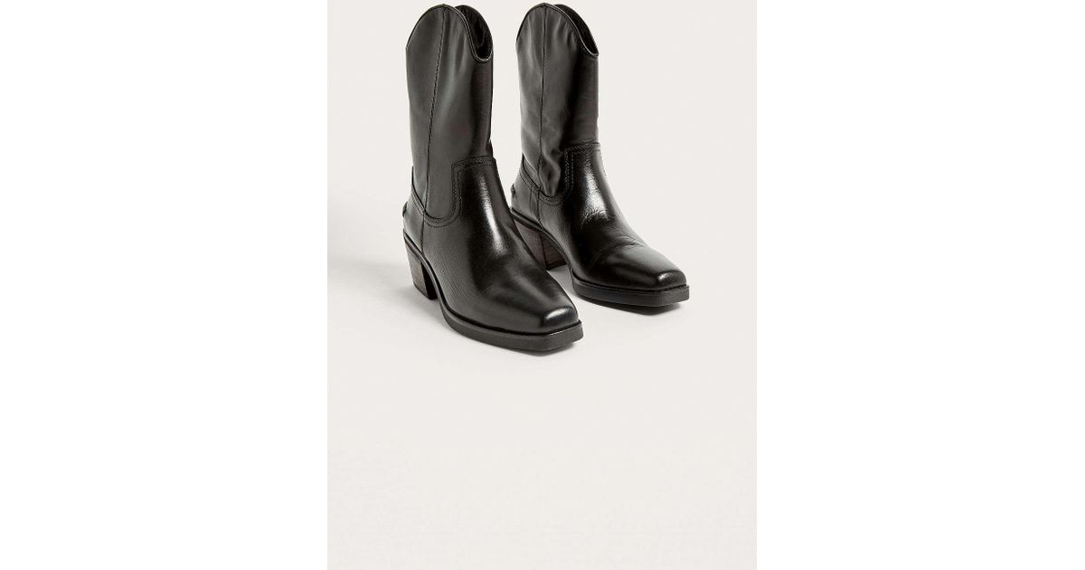 new concept 21faa ccdd9 Vagabond Simone Black Leather Cowboy Boots - Womens Uk 3