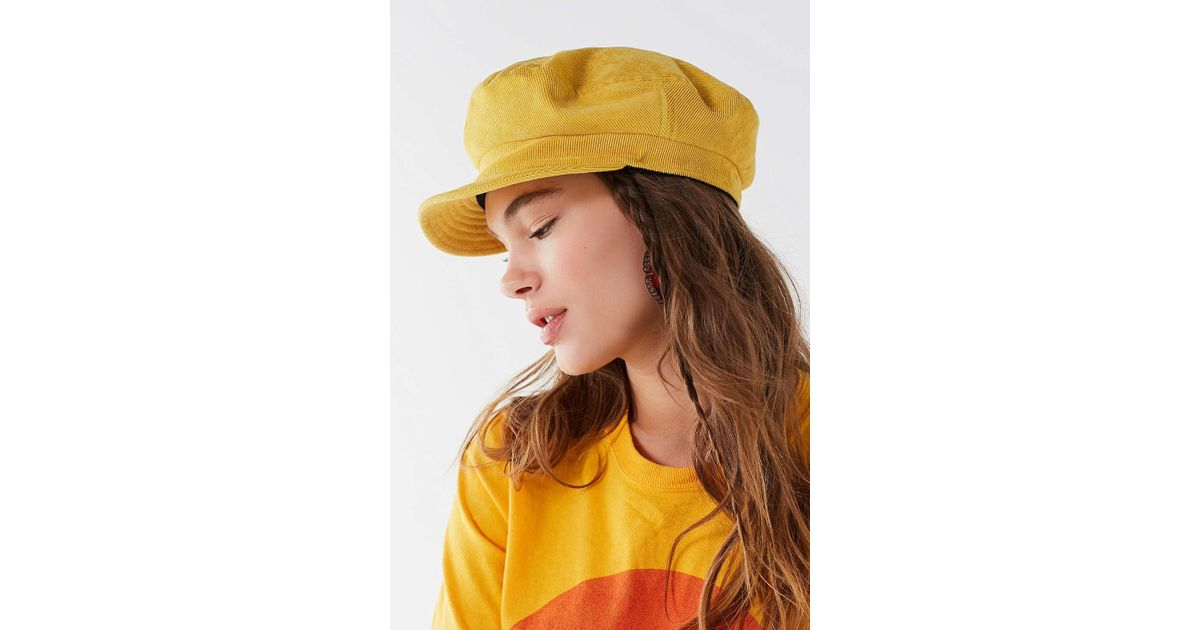 c942a873245ff Lyst - Brixton Fiddler Unstructured Corduroy Fisherman Hat in Yellow
