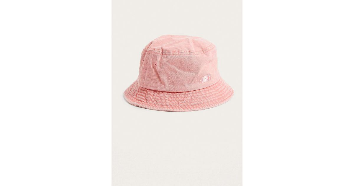 02688a026da Obey Respect Coral Bucket Hat in Pink for Men - Lyst