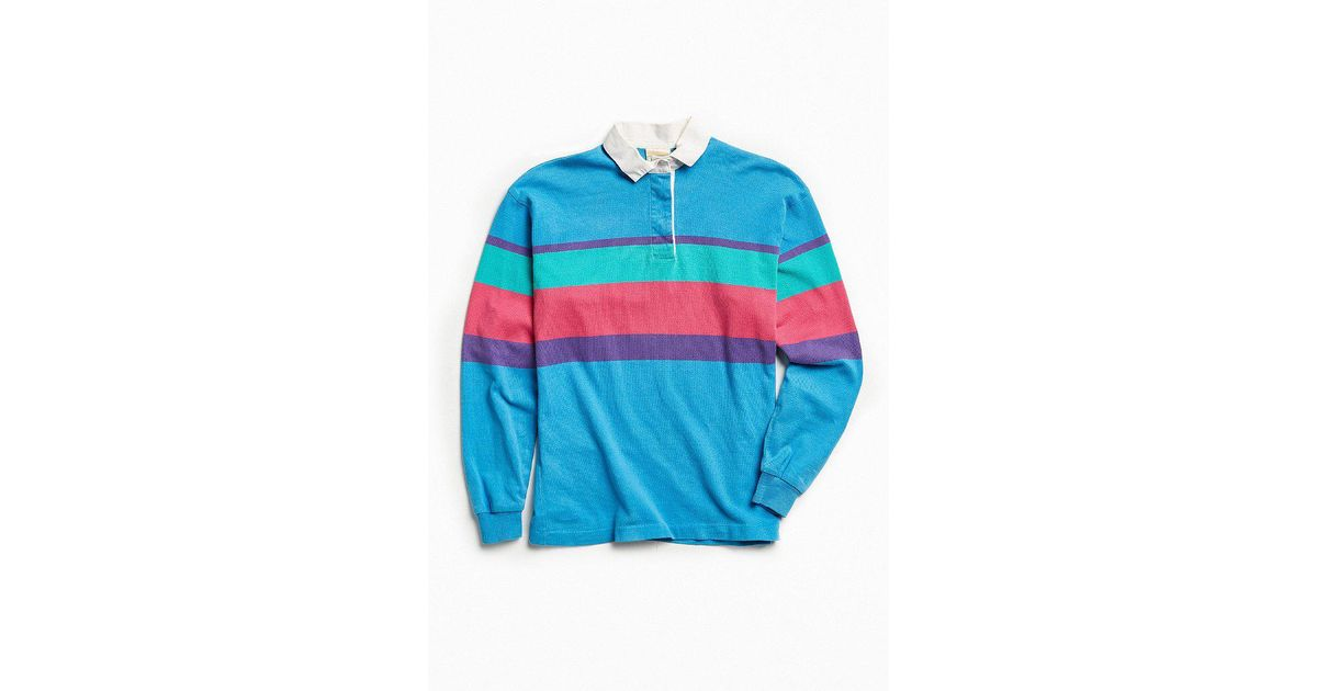 d570e503 Urban Outfitters Vintage L.l. Bean Colorful Blue Multi Stripe Rugby Shirt  in Blue for Men - Lyst