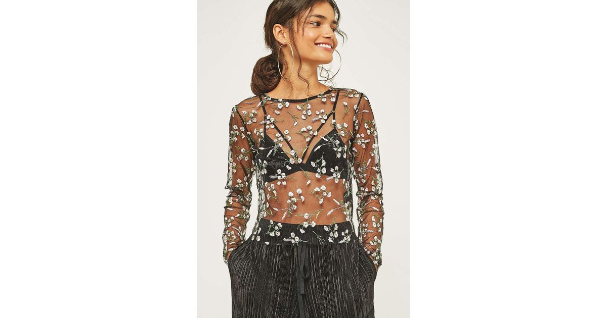 96fa9b7168e605 Urban Outfitters Urban Outfitters Romantic Embroidered Floral Mesh Crop Top  - Womens Xs in Black - Lyst