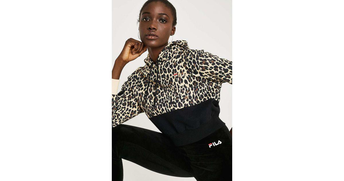 aliexpress wysoka moda szczegółowy wygląd Fila Black Leopard Print Crop Hoodie