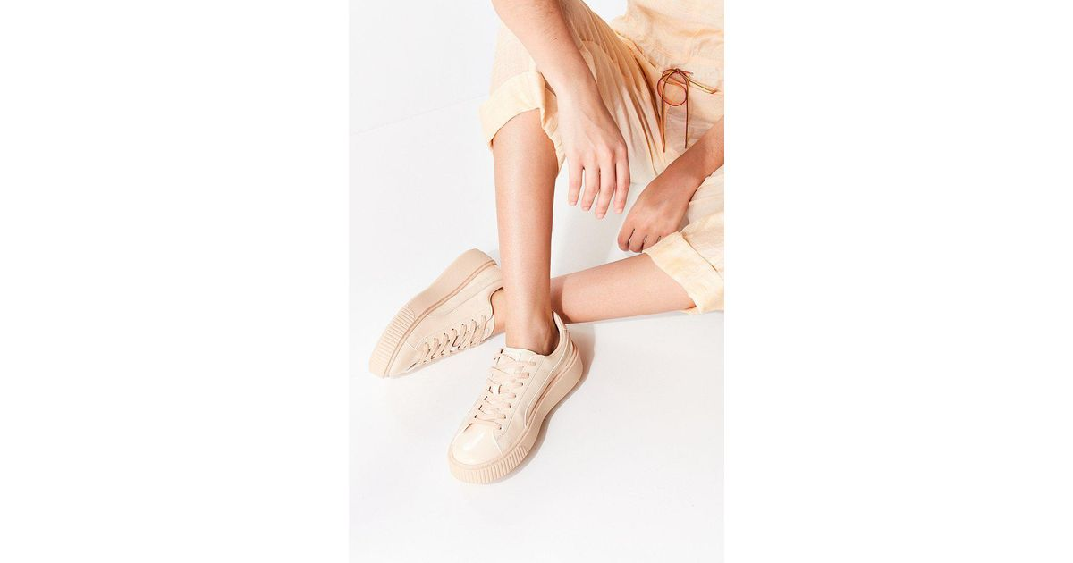 19f323c7 PUMA Natural Basket Patent Leather Platform Sneaker