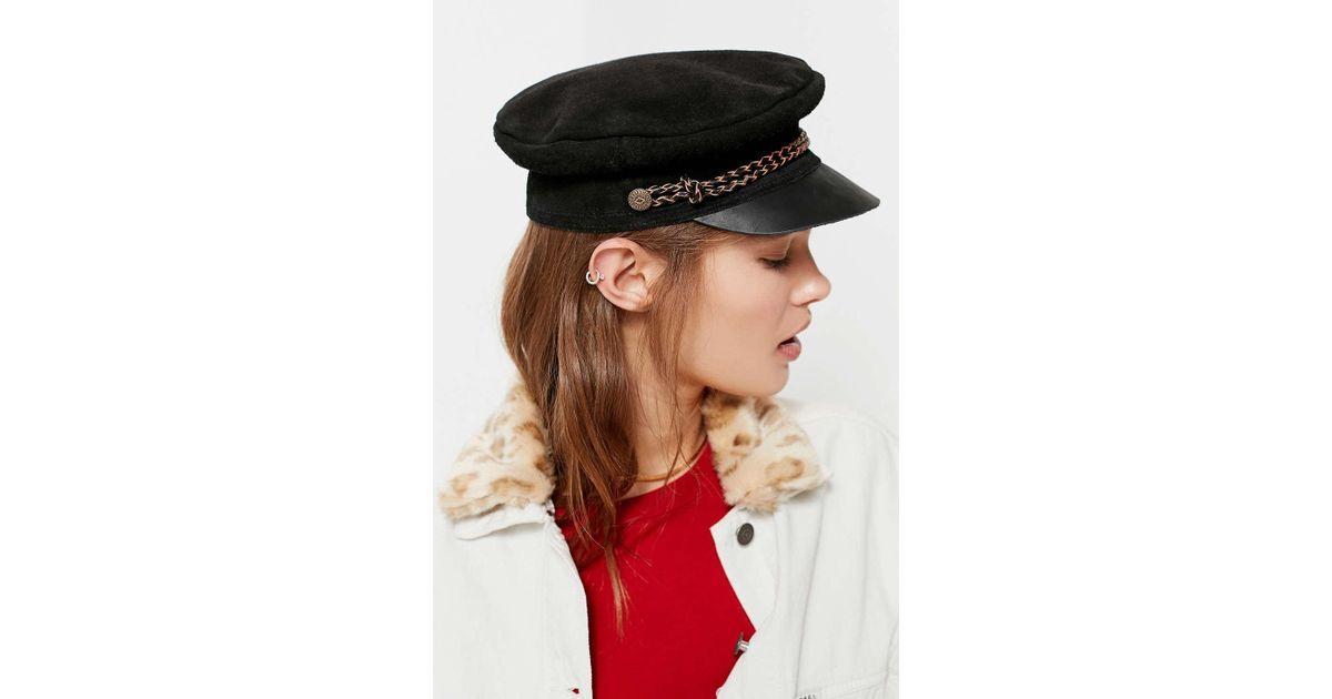 4b0e0b3bde8dc Lyst - Brixton Kayla Suede Moto Cap in Black