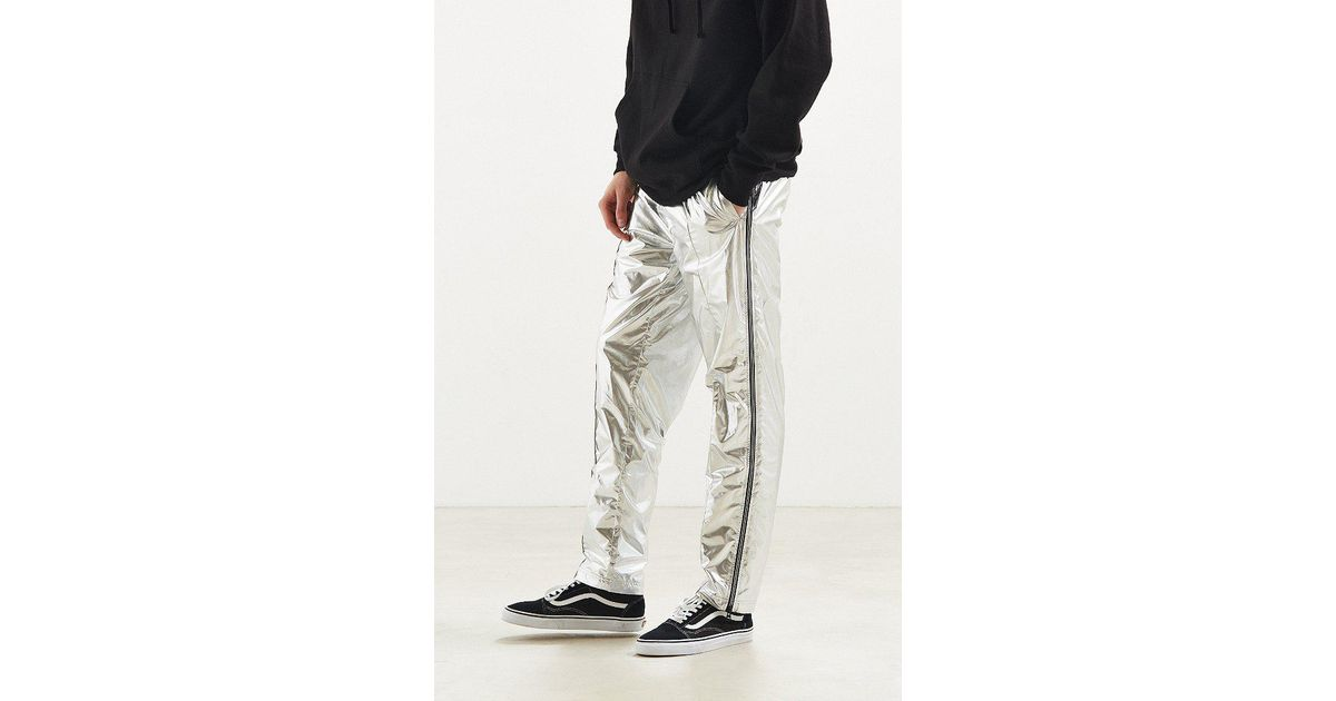 Urban Outfitters Synthetic Uo Silver Side Zip Wind Pant In