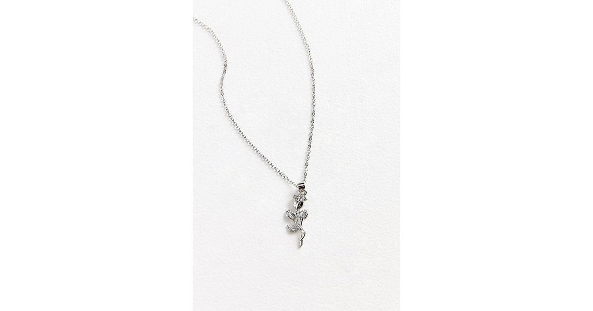 Urban outfitters simple rose pendant necklace in metallic lyst aloadofball Images