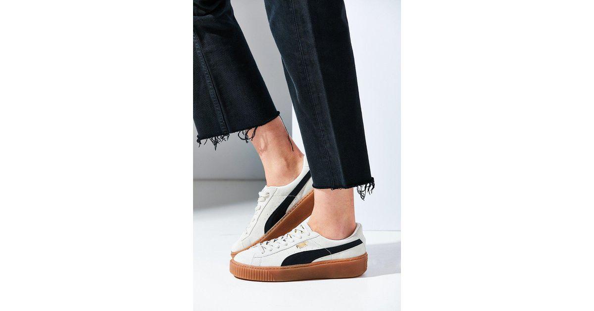 Lyst - PUMA Basket Suede Platform Sneaker in White 07b22e2bd