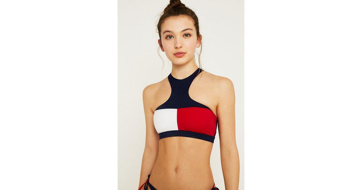59d8773c Tommy Hilfiger Navy Flag Crop Bikini Top in Blue - Lyst
