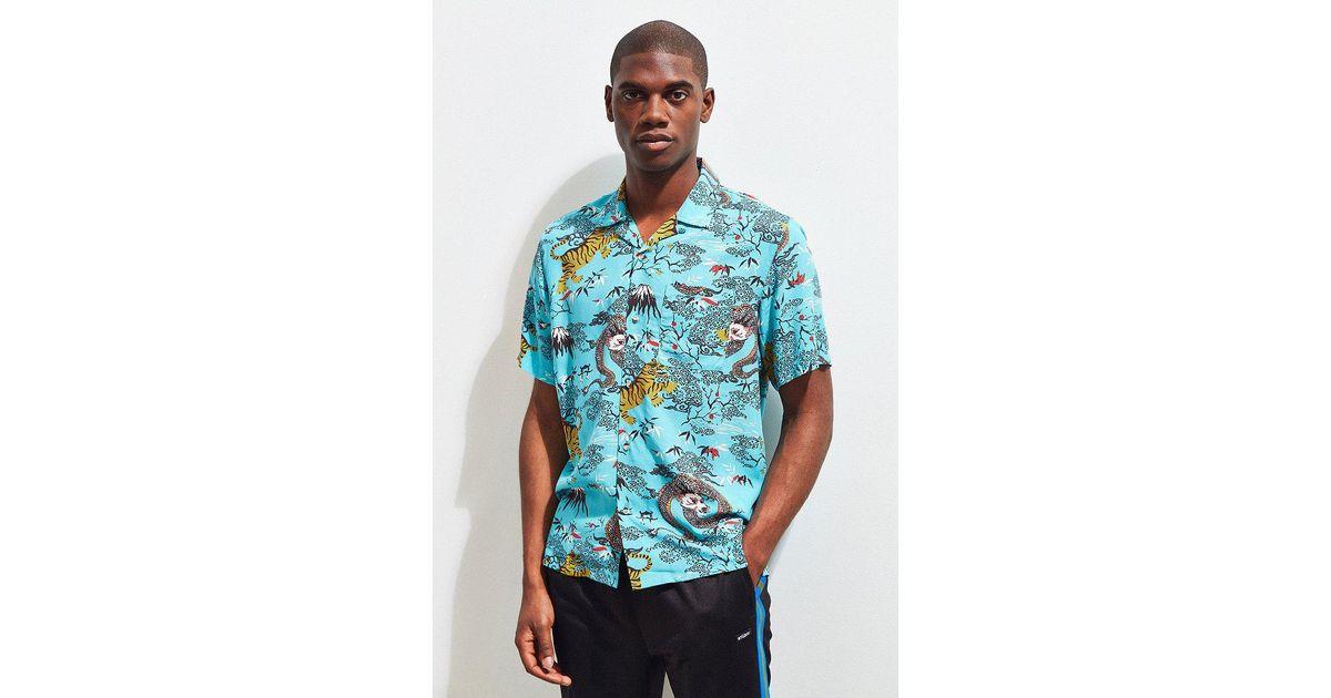 b8da51da7 Urban Outfitters Uo Dragon Rayon Short Sleeve Button-down Shirt in Blue for  Men - Lyst