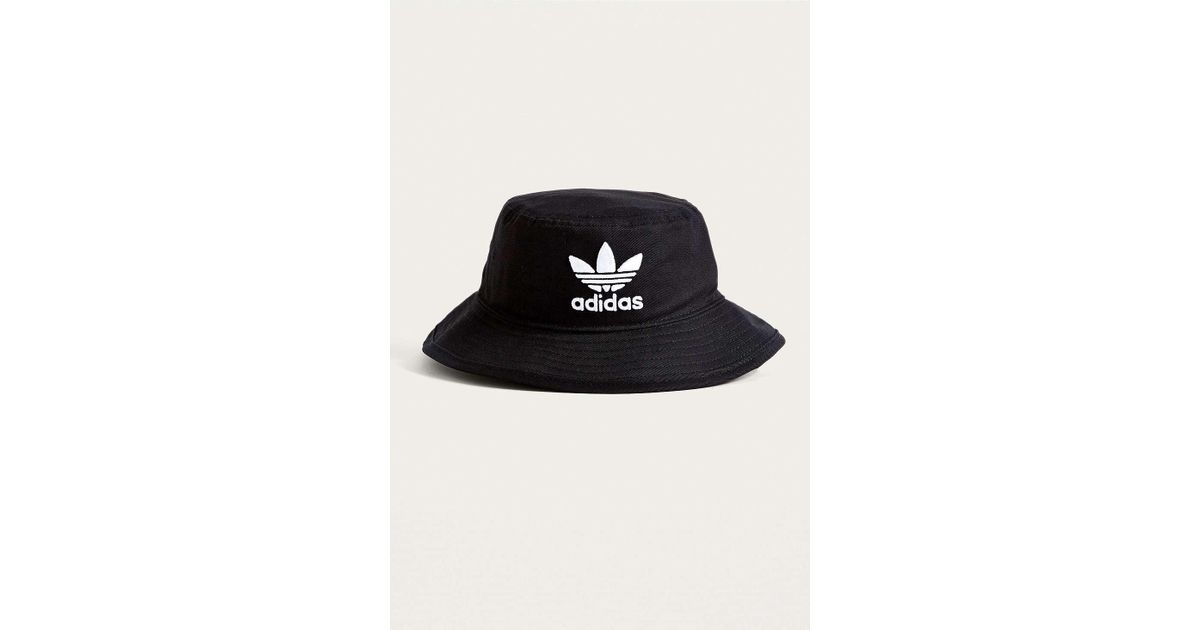a4c7cd50aac6 adidas Originals Black Trefoil Bucket Hat - Womens All in Black - Lyst
