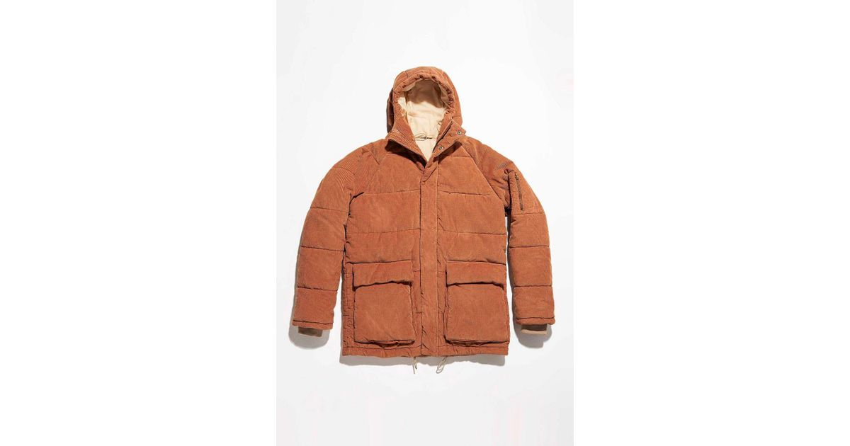 d146a73f1cb3e Urban Outfitters Uo Kevin Rust Corduroy Puffer Jacket - Mens L in Brown for  Men - Lyst